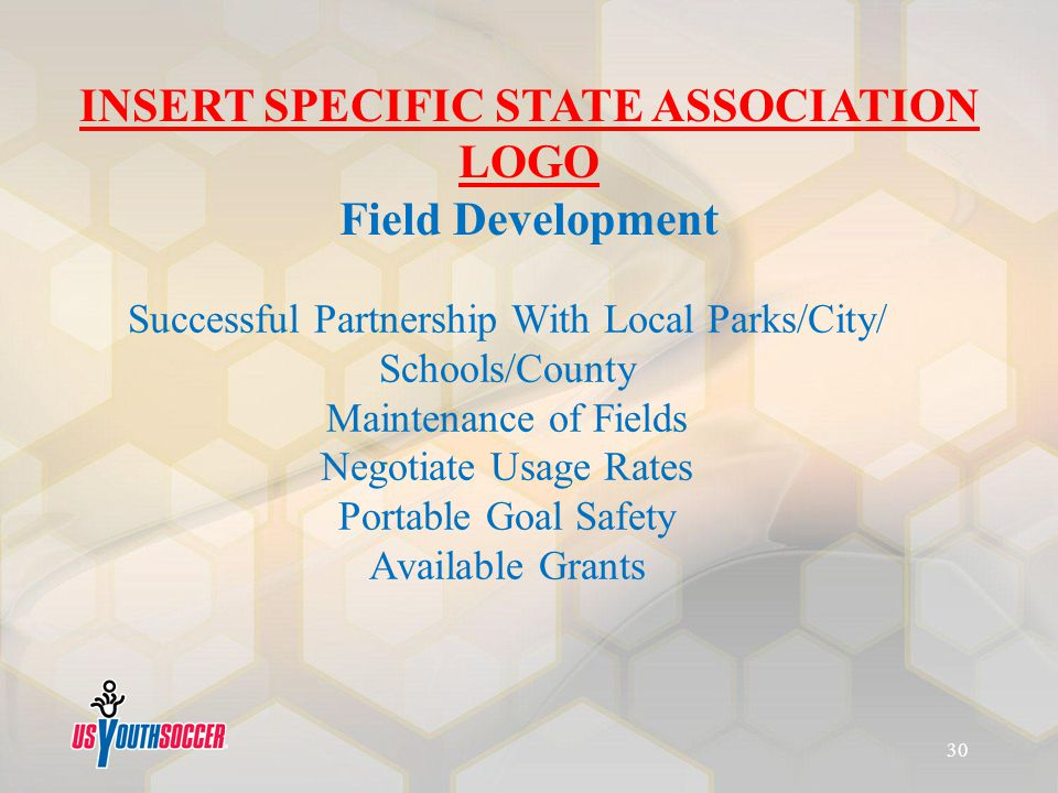 Successful Partnership With Local Parks/City/ Schools/County Maintenance of Fields Negotiate Usage Rates Portable Goal Safety Available Grants INSERT