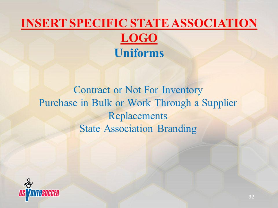 Contract or Not For Inventory Purchase in Bulk or Work Through a Supplier Replacements State Association Branding INSERT SPECIFIC STATE ASSOCIATION LO