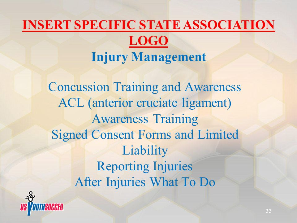 Concussion Training and Awareness ACL (anterior cruciate ligament) Awareness Training Signed Consent Forms and Limited Liability Reporting Injuries Af