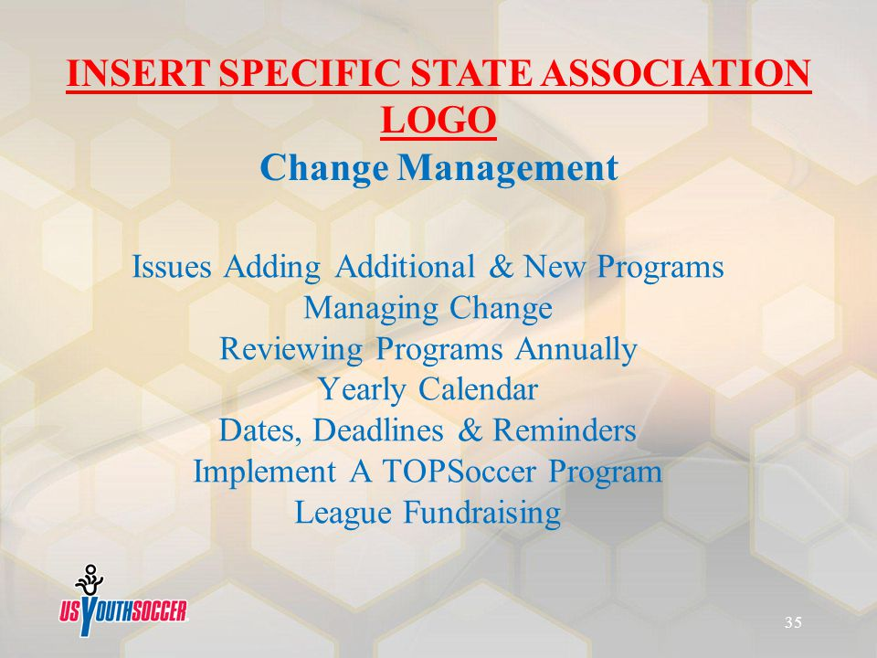 Issues Adding Additional & New Programs Managing Change Reviewing Programs Annually Yearly Calendar Dates, Deadlines & Reminders Implement A TOPSoccer