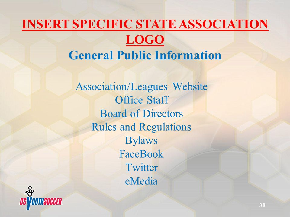 Association/Leagues Website Office Staff Board of Directors Rules and Regulations Bylaws FaceBook Twitter eMedia INSERT SPECIFIC STATE ASSOCIATION LOG