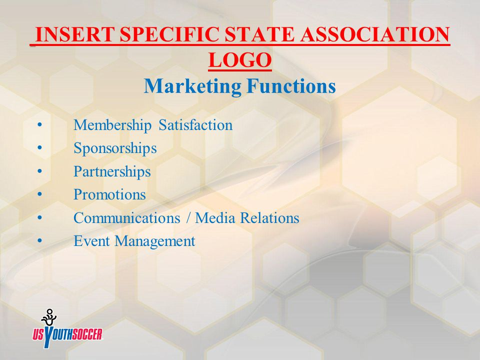 INSERT SPECIFIC STATE ASSOCIATION LOGO Marketing Functions Membership Satisfaction Sponsorships Partnerships Promotions Communications / Media Relatio