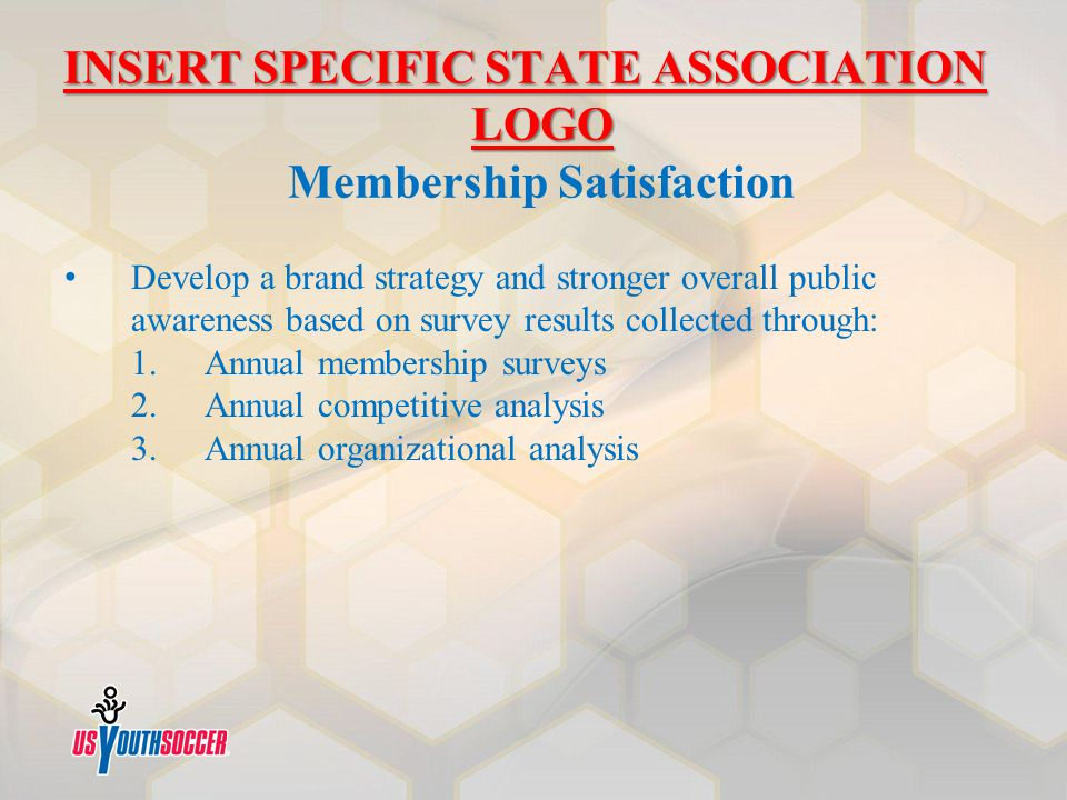 INSERT SPECIFIC STATE ASSOCIATION LOGO INSERT SPECIFIC STATE ASSOCIATION LOGO Membership Satisfaction Develop a brand strategy and stronger overall pu