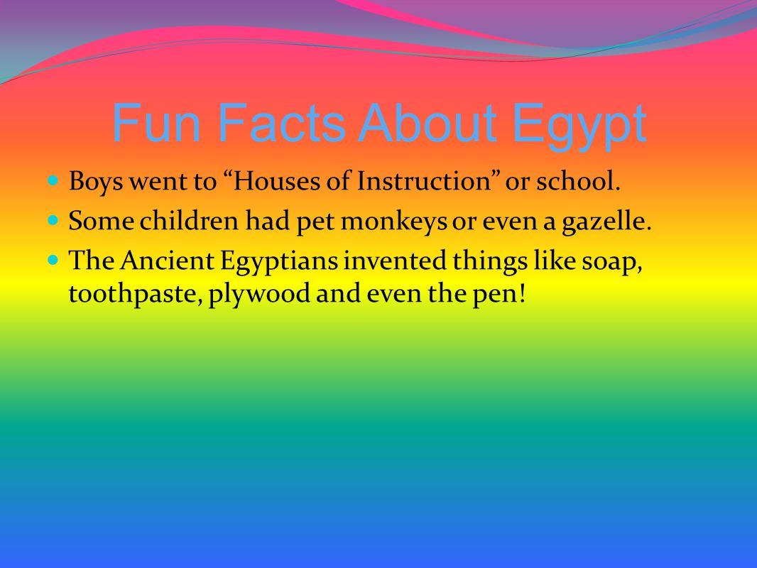 Fun Facts About Egypt Boys went to Houses of Instruction or school.