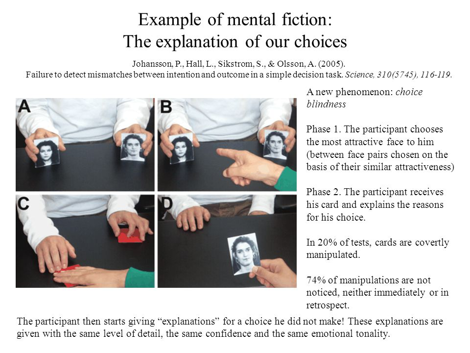 Example of mental fiction: The explanation of our choices Johansson, P., Hall, L., Sikstrom, S., & Olsson, A. (2005). Failure to detect mismatches bet