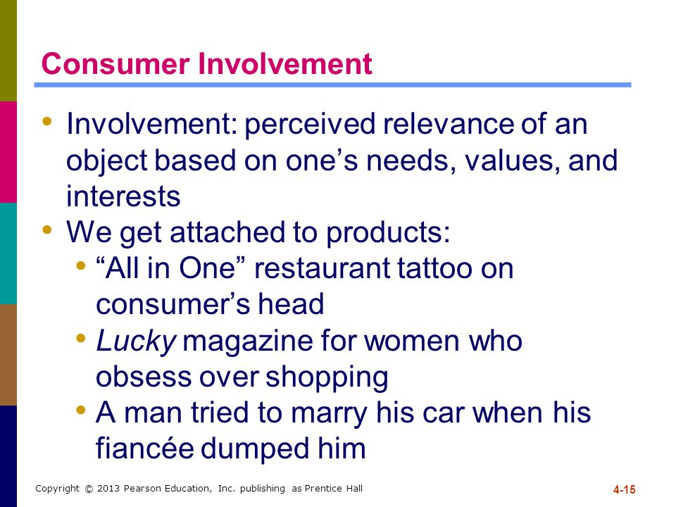 4-15 Copyright © 2013 Pearson Education, Inc. publishing as Prentice Hall Consumer Involvement Involvement: perceived relevance of an object based on