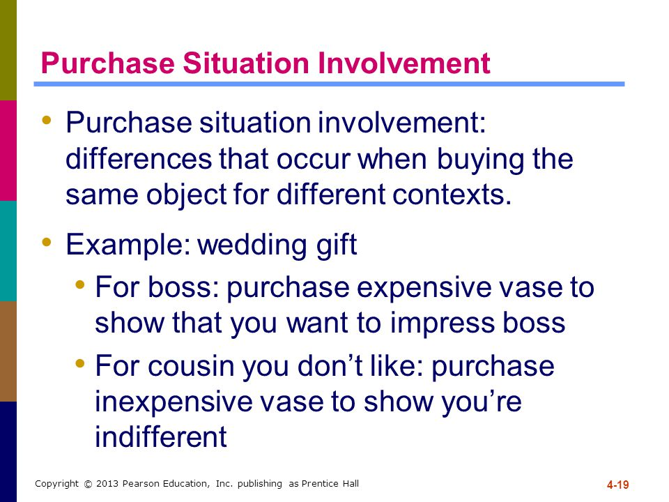 4-19 Copyright © 2013 Pearson Education, Inc. publishing as Prentice Hall Purchase Situation Involvement Purchase situation involvement: differences t