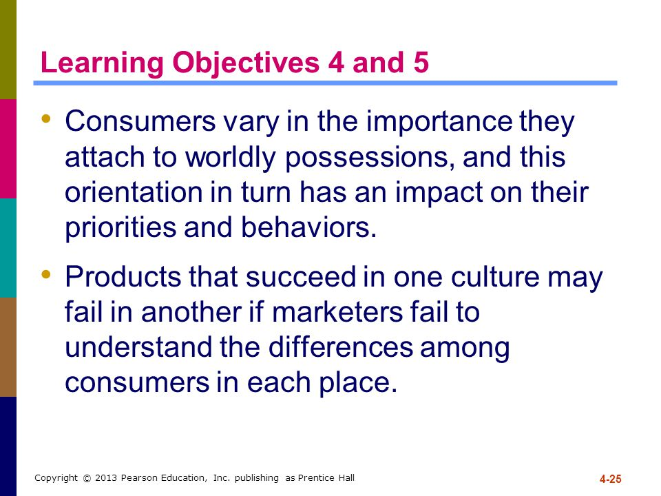 4-25 Copyright © 2013 Pearson Education, Inc. publishing as Prentice Hall Learning Objectives 4 and 5 Consumers vary in the importance they attach to