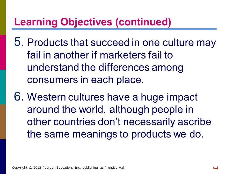 Learning Objectives (continued) 5. Products that succeed in one culture may fail in another if marketers fail to understand the differences among cons
