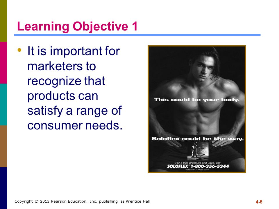 Learning Objective 1 It is important for marketers to recognize that products can satisfy a range of consumer needs. 4-5 Copyright © 2013 Pearson Educ