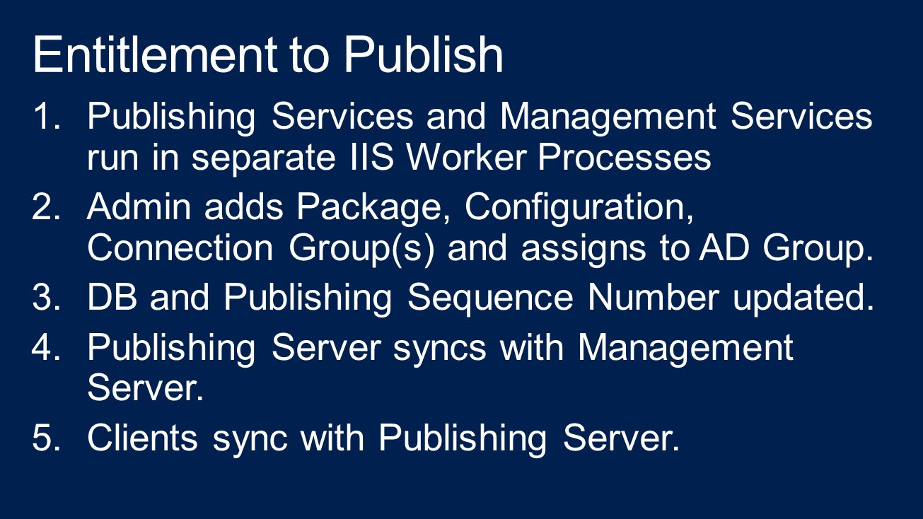 1.Publishing Services and Management Services run in separate IIS Worker Processes 2.Admin adds Package, Configuration, Connection Group(s) and assigns to AD Group.