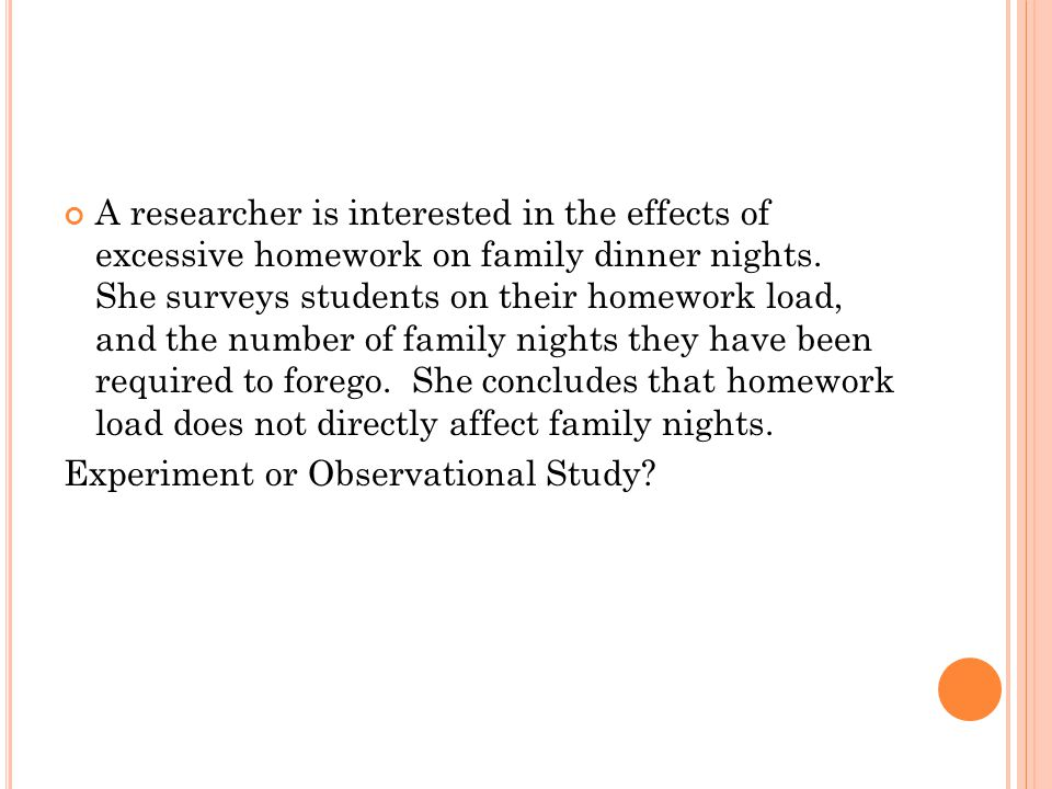 A researcher is interested in the effects of excessive homework on family dinner nights. She surveys students on their homework load, and the number o