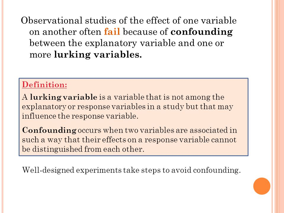 Observational studies of the effect of one variable on another often fail because of confounding between the explanatory variable and one ormore lurki