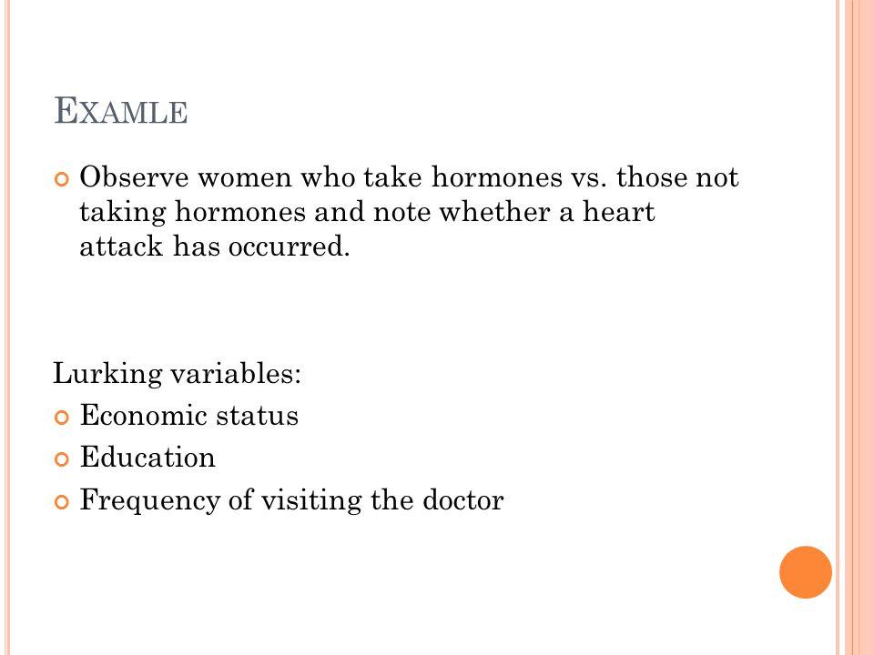 E XAMLE Observe women who take hormones vs.