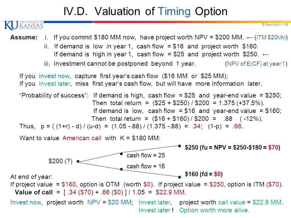 © Paul Koch 1-15 IV.D. Valuation of Timing Option Assume: i. If you commit $180 MM now, have project worth NPV = $200 MM. ← ( ITM $20 MM ) ii. If dema