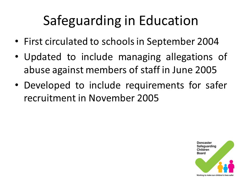 Safeguarding in School Child protection Anti bullying policy Staff conduct Attendance Curriculum Behaviour Safer Recruitment Whistle blowing Allegations against staff – LADO Health and Safety Our building eSafety