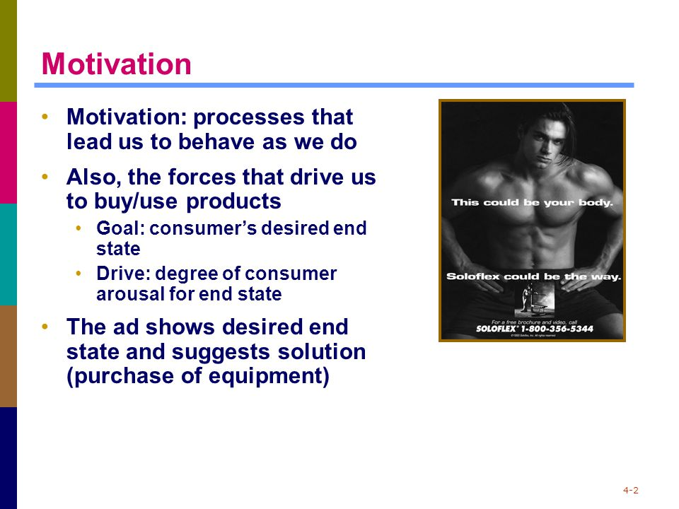 4-2 Motivation Motivation: processes that lead us to behave as we do Also, the forces that drive us to buy/use products Goal: consumer's desired end s
