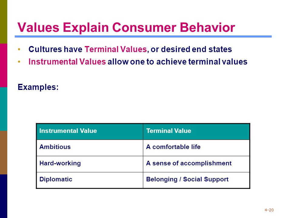 4-20 Values Explain Consumer Behavior Cultures have Terminal Values, or desired end states Instrumental Values allow one to achieve terminal values Ex