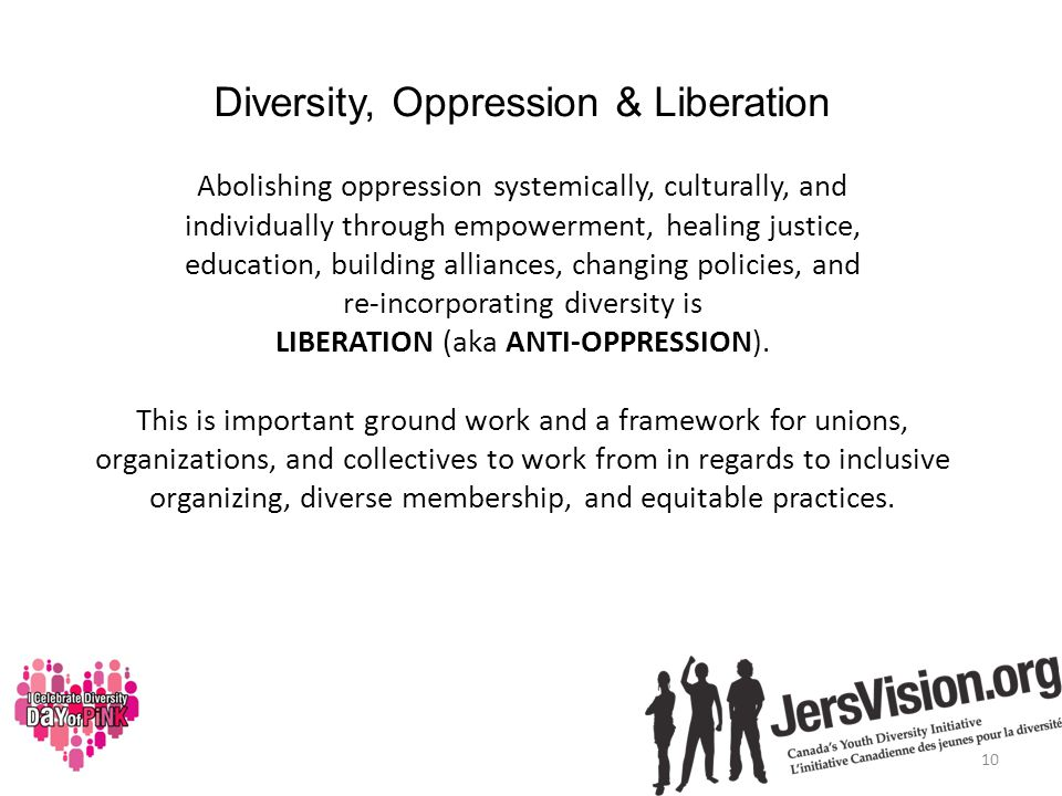 Diversity, Oppression & Liberation Abolishing oppression systemically, culturally, and individually through empowerment, healing justice, education, building alliances, changing policies, and re-incorporating diversity is LIBERATION (aka ANTI-OPPRESSION).