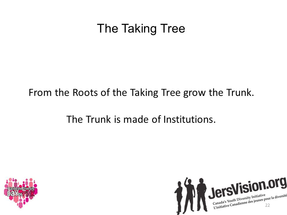 The Taking Tree From the Roots of the Taking Tree grow the Trunk.