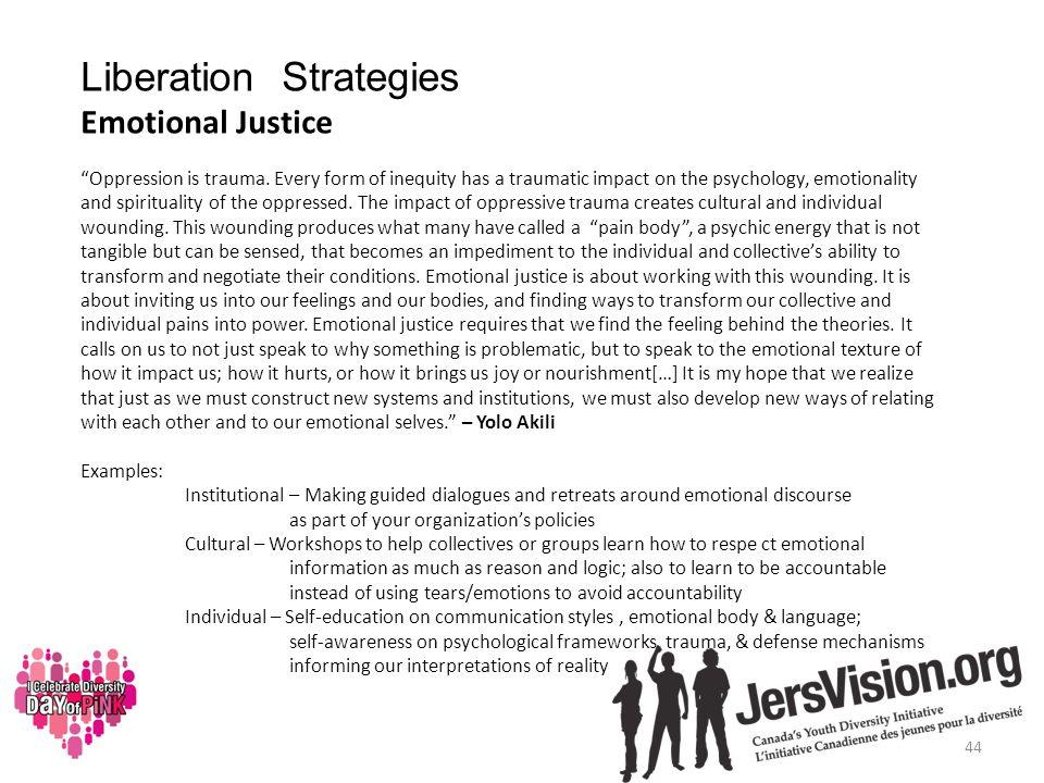 Liberation Strategies Emotional Justice Oppression is trauma.