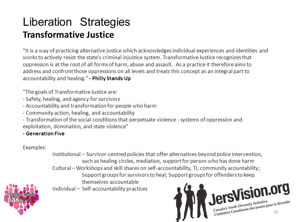 Liberation Strategies Transformative Justice It is a way of practicing alternative justice which acknowledges individual experiences and identities and works to actively resist the state s criminal injustice system.