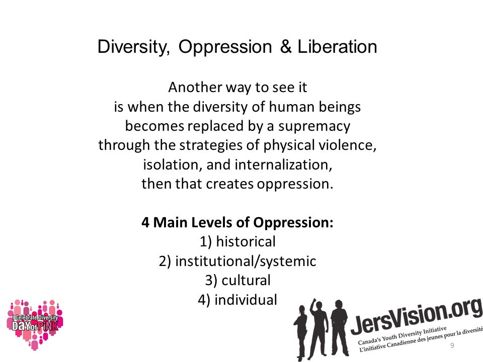 Diversity, Oppression & Liberation Another way to see it is when the diversity of human beings becomes replaced by a supremacy through the strategies of physical violence, isolation, and internalization, then that creates oppression.