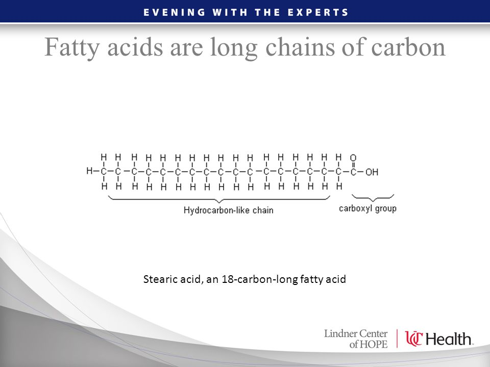 Fatty acids are long chains of carbon Stearic acid, an 18-carbon-long fatty acid