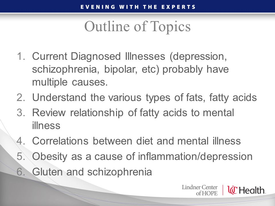 Outline of Topics 1.Current Diagnosed Illnesses (depression, schizophrenia, bipolar, etc) probably have multiple causes. 2.Understand the various type