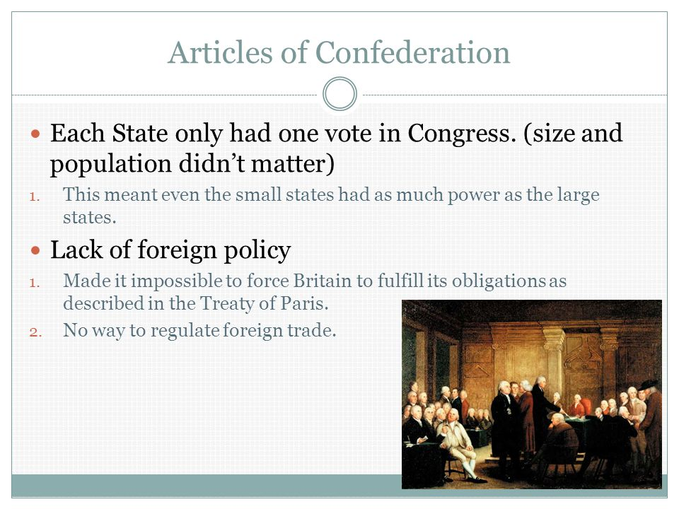 Articles of Confederation Each State only had one vote in Congress.