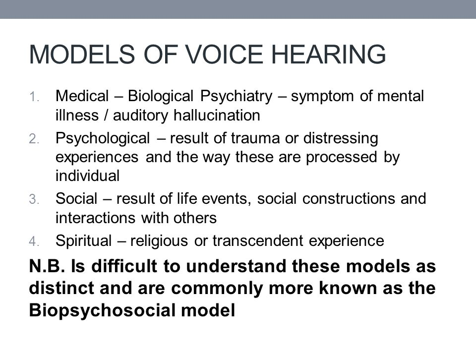 MODELS OF VOICE HEARING 1.