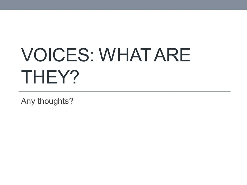 VOICES: WHAT ARE THEY? Any thoughts?