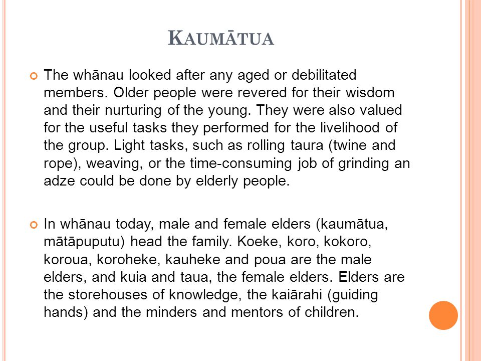 K AUMĀTUA The whānau looked after any aged or debilitated members.