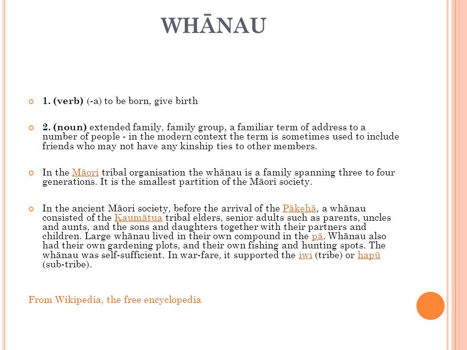 WHĀNAU 1. (verb) (-a) to be born, give birth 2.