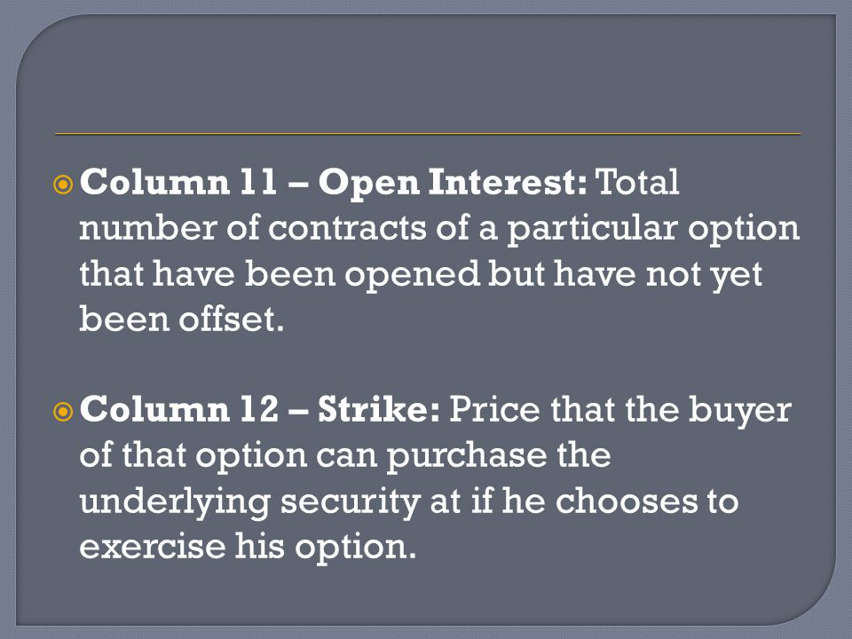  Column 11 – Open Interest: Total number of contracts of a particular option that have been opened but have not yet been offset.