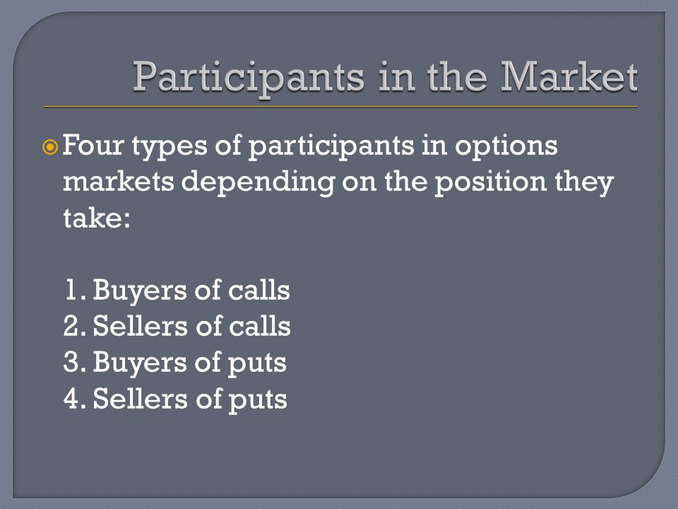  Four types of participants in options markets depending on the position they take: 1.