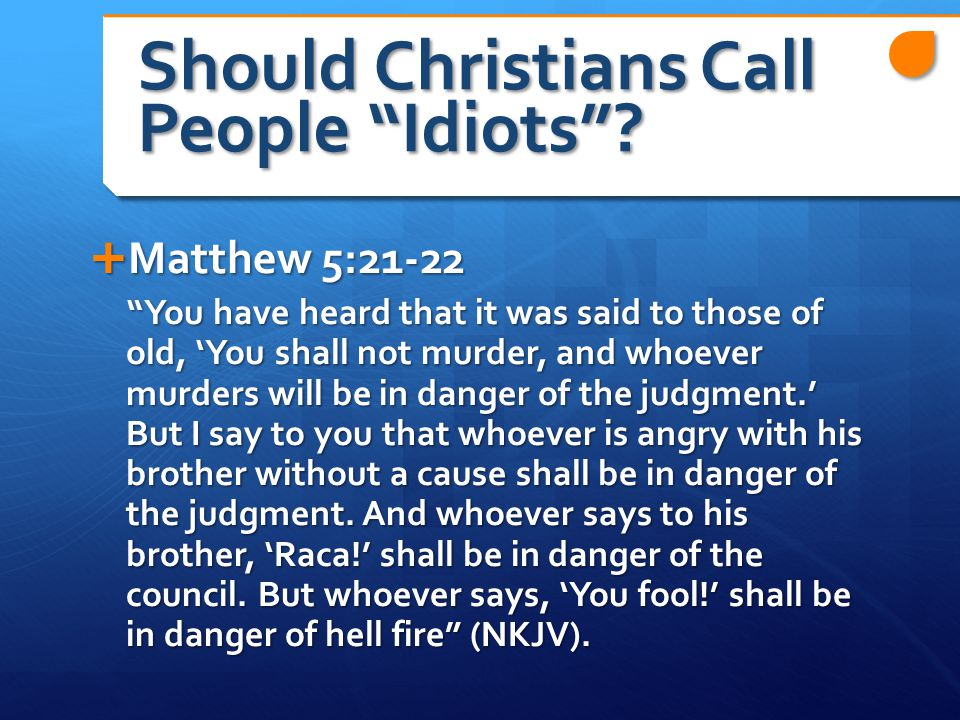 Should Christians Call People Idiots .