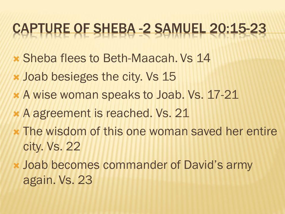  Sheba flees to Beth-Maacah. Vs 14  Joab besieges the city.