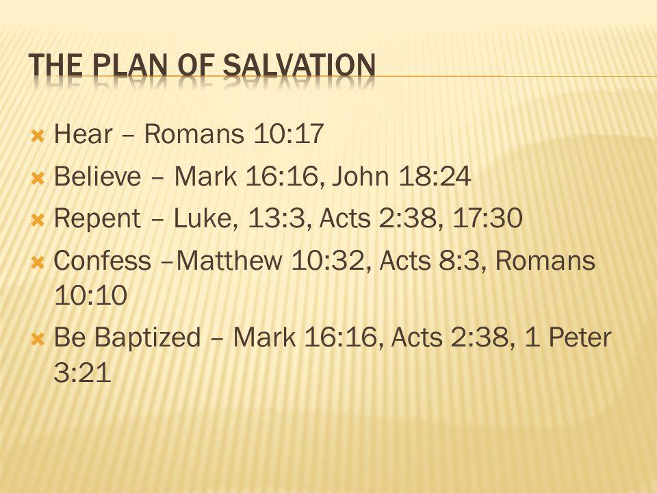  Hear – Romans 10:17  Believe – Mark 16:16, John 18:24  Repent – Luke, 13:3, Acts 2:38, 17:30  Confess –Matthew 10:32, Acts 8:3, Romans 10:10  Be Baptized – Mark 16:16, Acts 2:38, 1 Peter 3:21