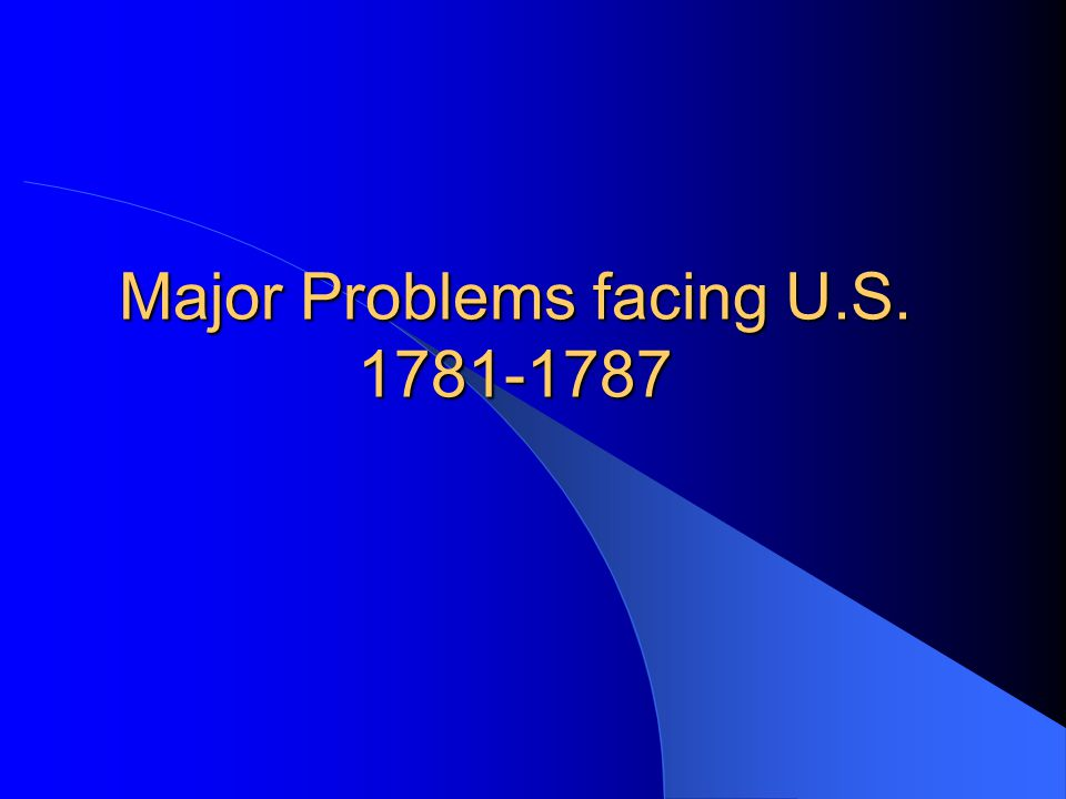 Major Problems facing U.S. 1781-1787