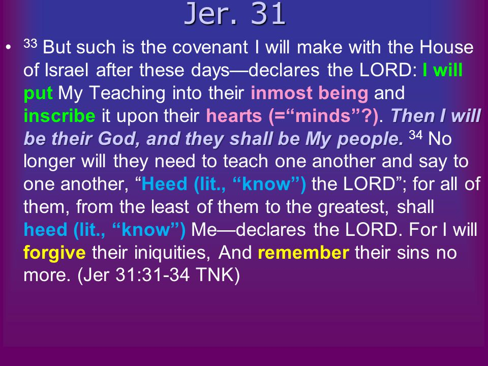 Jer. 31 Then I will be their God, and they shall be My people.