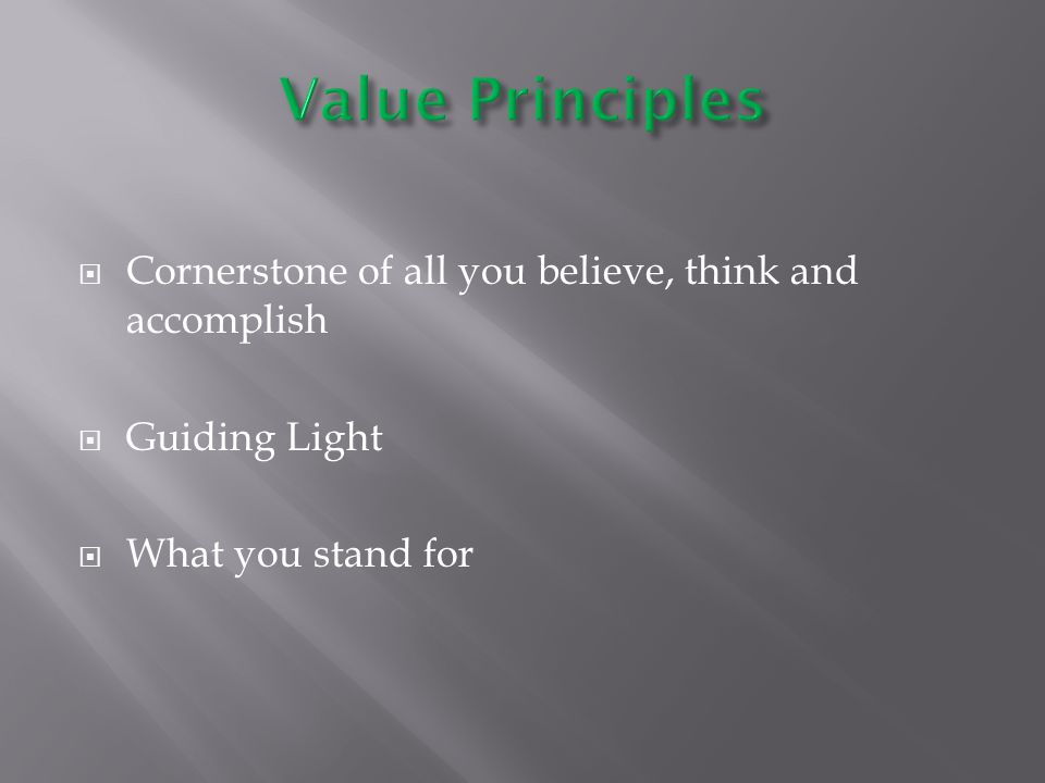  Cornerstone of all you believe, think and accomplish  Guiding Light  What you stand for
