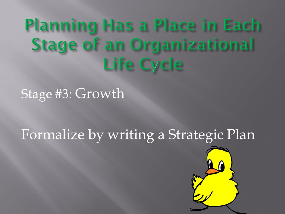 Stage #3: Growth Formalize by writing a Strategic Plan