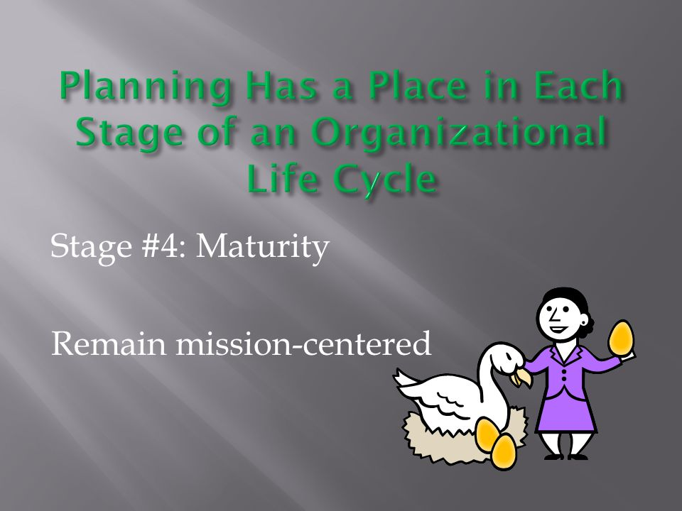 Stage #4: Maturity Remain mission-centered