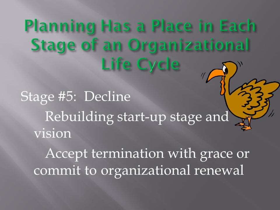Stage #5: Decline Rebuilding start-up stage and vision Accept termination with grace or commit to organizational renewal