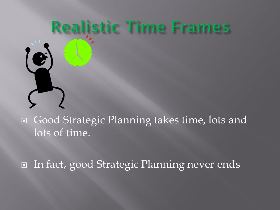  Good Strategic Planning takes time, lots and lots of time.