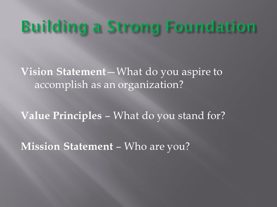 Vision Statement —What do you aspire to accomplish as an organization.