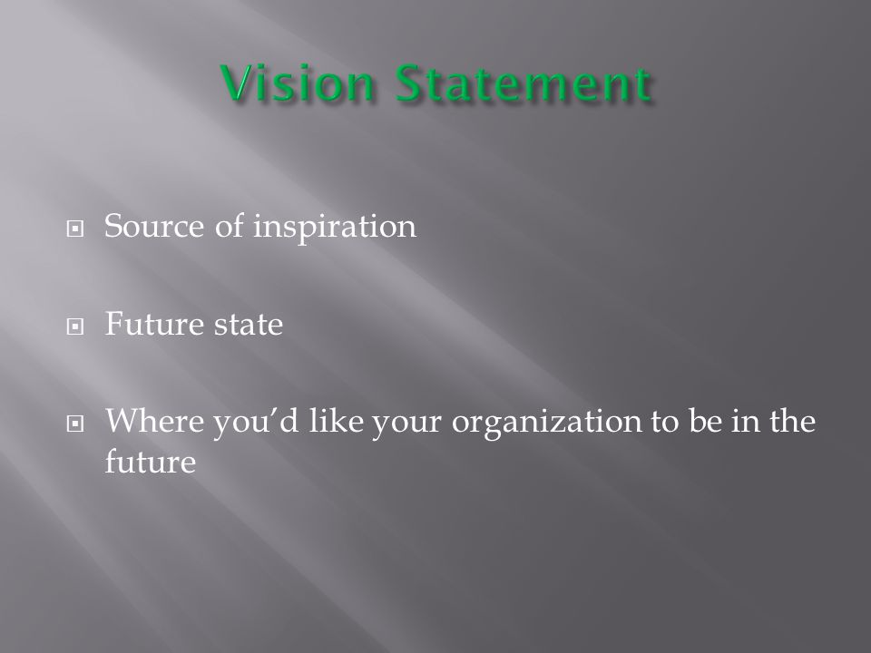  Source of inspiration  Future state  Where you'd like your organization to be in the future