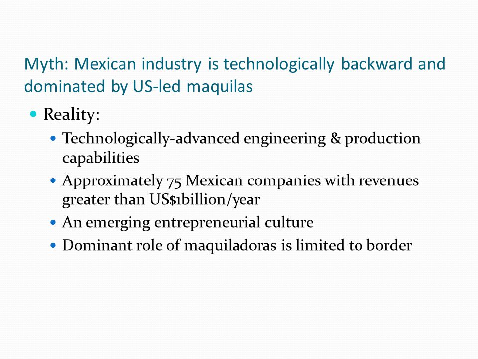 Non-Maquila Manufacturing There's more to manufacturing in Mexico than the maquiladoras; line is blurring IMMEX: new umbrella for maquila, Pitex (preferential tariff treatment for temporary imports), other The border v.