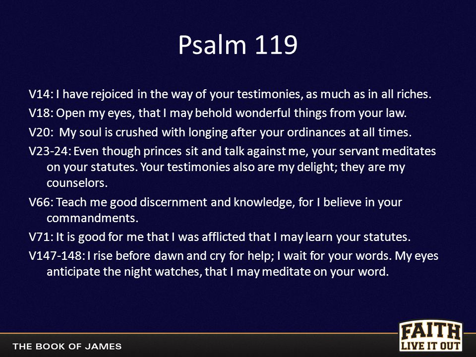 Psalm 119 V14: I have rejoiced in the way of your testimonies, as much as in all riches.